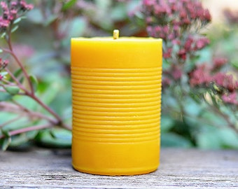 Our Original Yellow Beeswax Pillar CANdle, Minimalist Eco Friendly Decor