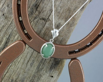 Sterling Silver Pendant/Necklace Green Aventurine Pendant/Necklace - 18mm x 13mm Natural Green Aventurine with a Sterling Silver Setting