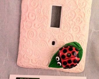 Pale Pink Ladybug Single Switch Plate