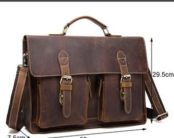 Mens leather messenger Laptop Satchel Bag -Ben Bags Factory