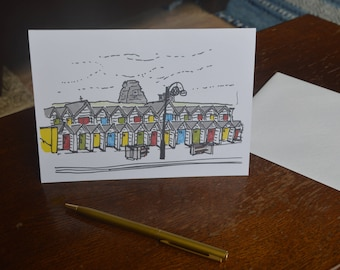 Swanage Beach Huts card (blank for message)
