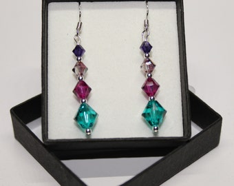 Sterling Silver graduated Bicone drop earrings made with Swarovski® Crystals - Purple Velvet, Lilac Shadow, Fuschia and Blue Zircon