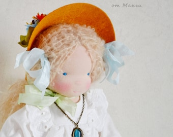 """Waldorf doll, Alice, 14""""/35 cm, organic doll, textile doll, ooak doll, gift for girl, antique doll"""