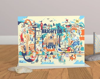 Brighton Map - Brighton Art Card - Brighton Illustration - Blank Greeting Card - Brighton Greeting Card