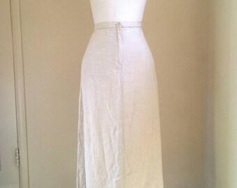 80s linen maxi skirt, Talbot's long linen skirt, pockets, back slit, natural beige, women large, 40 inches