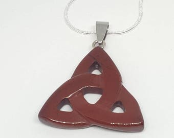 Celtic cross, Triquatra red jasper pendant necklace,  sterling silver, Wicca, pagan, paganism.