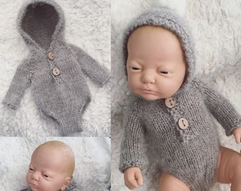 Newborn size knit hooded long sleeve romper,bonnet, photo prop,gift,coming home,bonnet,alpaca blend,pompom
