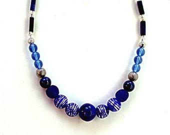 "COBALT, SILVER ,VENETIAN Murano striped beads, 17 3/8"" necklace, Ghana krobo,India ceramic bead,navy,royal blue,metal,light blue,"
