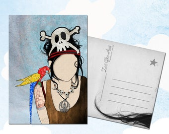 Carte postale illustrée / pirate / origami / perroquet / crâne / illustration / a6