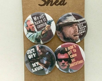 Clint Eastwood - Gran Torino, Dirty Harry, Unforgiven - Movie Legend - Quotes - 4 pin button badge set -