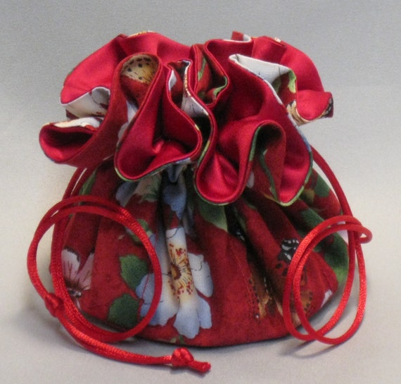 Jewelry Tote---Drawstring Organizer Pouch---Butterfly Floral Garden Design---Regular Size