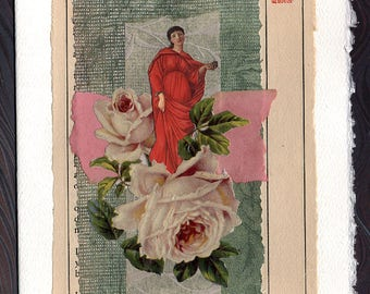Roses Friendship Thinking of You Flowers Original Collage Card