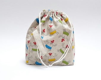 LARGE Drawstring Knitting Project Bag. Special KnitterBag design. Crochet Knitting Project Bag WIP bag Spindle Bag - SALE - Ready to Ship