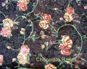 Chocolate stretch Lace with Roses
