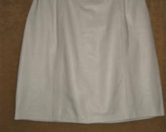 White Leather Skirt 80s Vintage