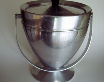 Vintage Atomic Age Bullet Ice Bucket with Swinging Handle - Holiday Party - Mid Century Atomic Eames Era Aluminum  - Puralum - Made in Italy