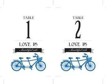 Tandem Bike Table Numbers Royal Blue and Black Bridal Printable DIY Digital File PDF Bicycle Set 30 Instant Download
