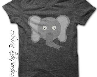Elephant Iron on Printable - Animal Iron on Transfer / Womens Elephant Shirt / Elephant Print Art / Cute Kid Clothes / Digital Image IT117