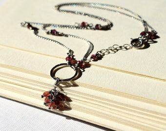 Red Garnet Necklace on Oxidized Sterling Silver, Garnet Cluster Necklace, Silver Circle Necklace, Oxidized Necklace, Red Gemstone Cluster Y