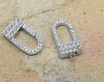 2 x rectangle oval lobster clasp silver metal rhinestone