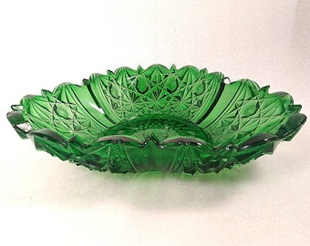 Large Vintage Emerald Green Deep Cut Glass Candy Dish