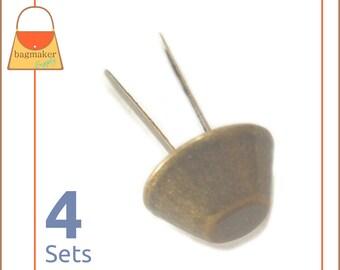 14 mm Purse Feet, Handbag Bottom Studs, Antique Brass Finish, 4 Feet, Handbag Purse Bag Making Hardware Supplies, PFT-AA004