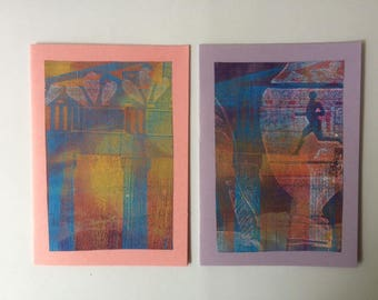 Set of two greetingcards with monoprint of a Greek tempel