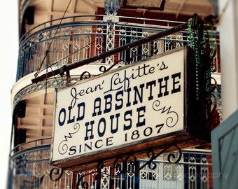 new orleans art, bourbon street, bar art, man cave decor, french quarter, vintage sign photograph, Jean Lafitte Old Absinthe House