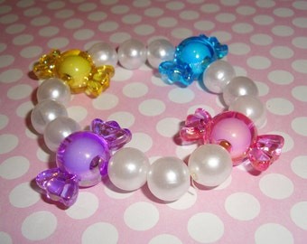 Big Sweet Candy Beads and White Pearls Beaded Bracelet