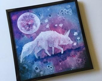 Fine Art Print - Nocturne - 2018 - Savannah Mitchell. Moonlit Fox with flowers. watercolor animal mystical whimsical galaxy painting nursery