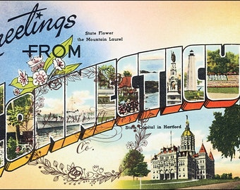 Greetings from CONNECTICUT Vintage Postcard Image ~ Instant Download