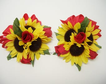 Sunflower Corsage with Red Roses, Wedding, Anniversary, Prom Flowers, 1 Wrist/Pin corsage