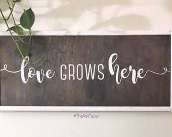 love grows here wood sign // home decor // wall sign
