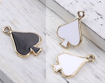 "10 charms ""Spade"" enameled metal Golden 1.9 cm / Poker / playing cards"