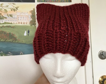 Red Kitty Cat Ear Beanie Vegan Hygge Soft and Cosy