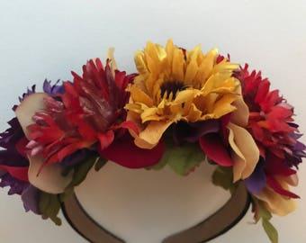 Festive Fall Sunflower Floral Headband