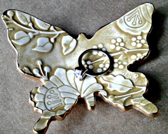 Ceramic Mustard and cream damask Butterfly Ring Dish edged in gold bridesmaid gift