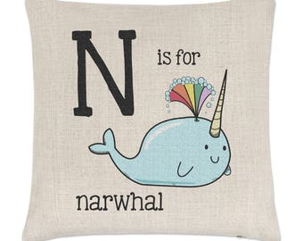 Letter N Is For Narwhal Linen Cushion Cover