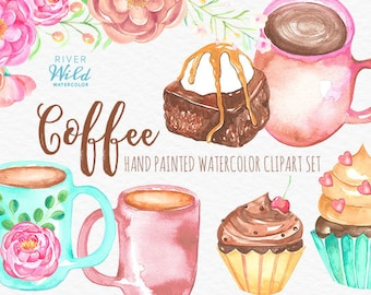 Coffee Clipart Set, Watercolor Coffee Clipart Set, Commercial Use Art, Watercolour Coffee Mug Clipart, Flower Clipart, Food Clipart, Dessert