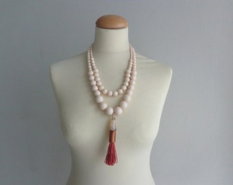 Cream tassel Statement necklace longer style, multi strand necklace