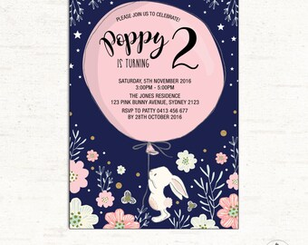 Bunny Birthday Party Invitation. Navy Pink Gold Floral Girl First Birthday. Twinkle Little Star Easter Rabbit Party Invite. ANY AGE. BUN3
