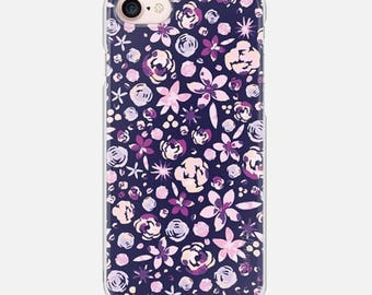 Floral Navy iPhone Case for Apple iPhone 7, iPhone 7 Plus, iPhone 6, iPhone 6s, iPhone 6 Plus, iPhone 6s Plus, 5s, SE, 5c, 5, 4, 4S, Flowers