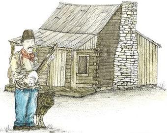 """Original Folk Art: (11' x 14"""") Musician with Guitar, Dog and Log Home"""
