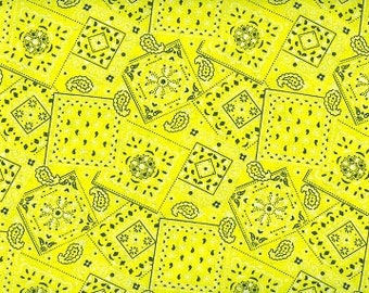 cowgirl bandana yellow fabric Cotton BTY