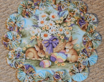 "Easter Eggs, Bunnies and Daisies 12"" Yo Yo Doily"