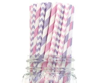 Princess Party, Paper Straws, Pink Paper Straws, Purple Straws, Lavender, Wedding, Baby Shower, Kids Birthday Party, Table Setting, USA