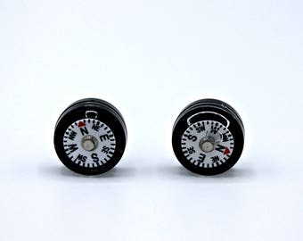 Mini Working Compass Post Earrings