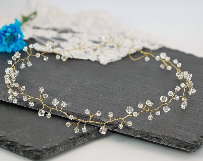 crystal hair vine, gold, silver,  green, blush, hair Garland, summer crown, boho, wedding accessories, accessory, bride hair accessory