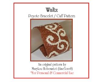 Peyote Pattern ... WALTZ ... Bracelet Tutorial . Swirls . Feminine . Two Color . Jewelry . Make It Yourself . Three Drop Peyote . 3 for 2