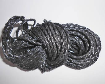 Braided leather cord 1 m artificial black 3 mm